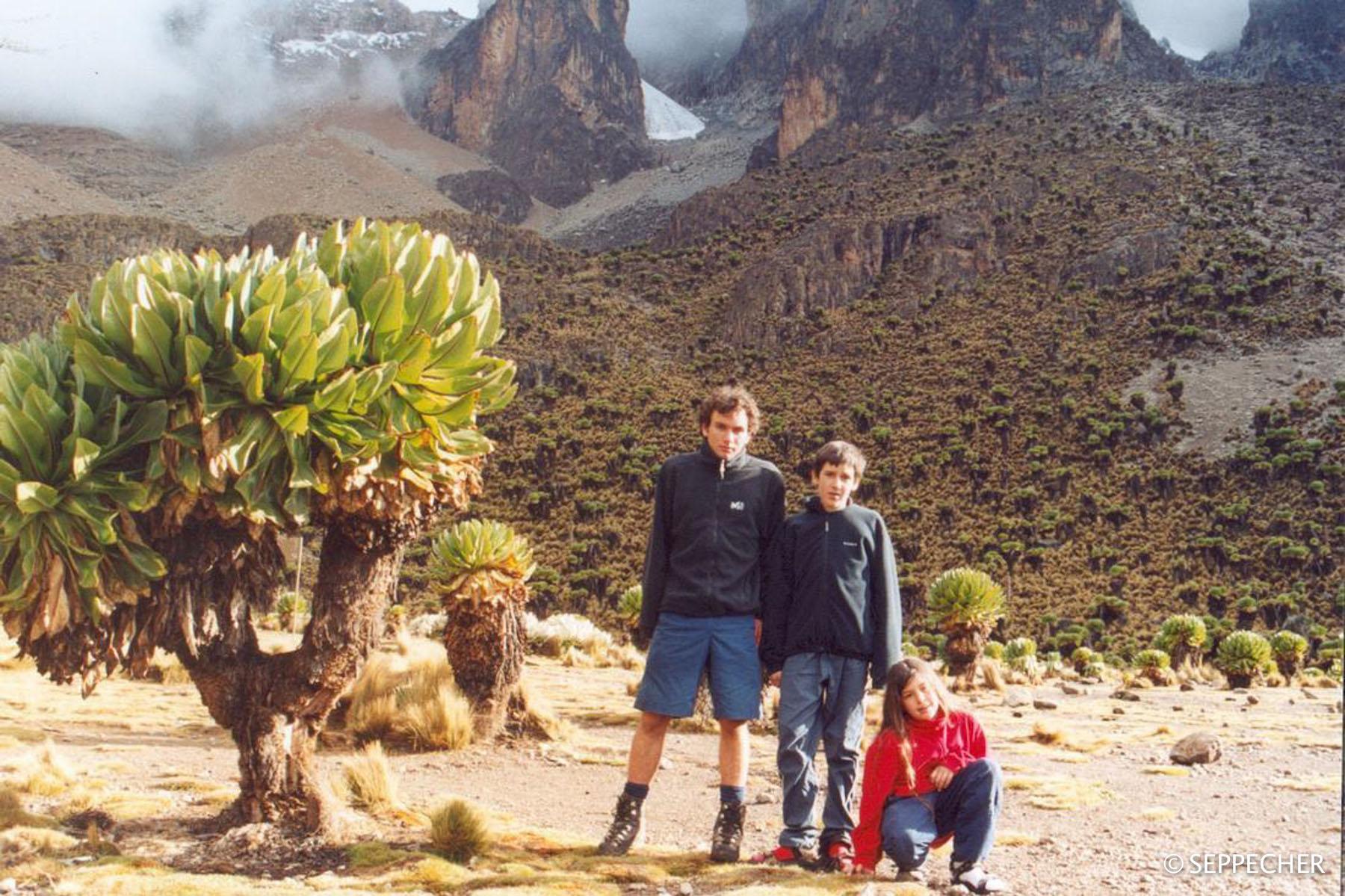 La fratrie au mt Kenya, 2002.